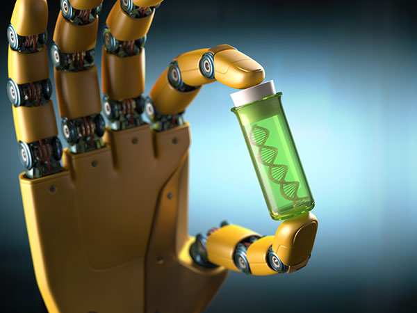 A robotic hand holding DNA