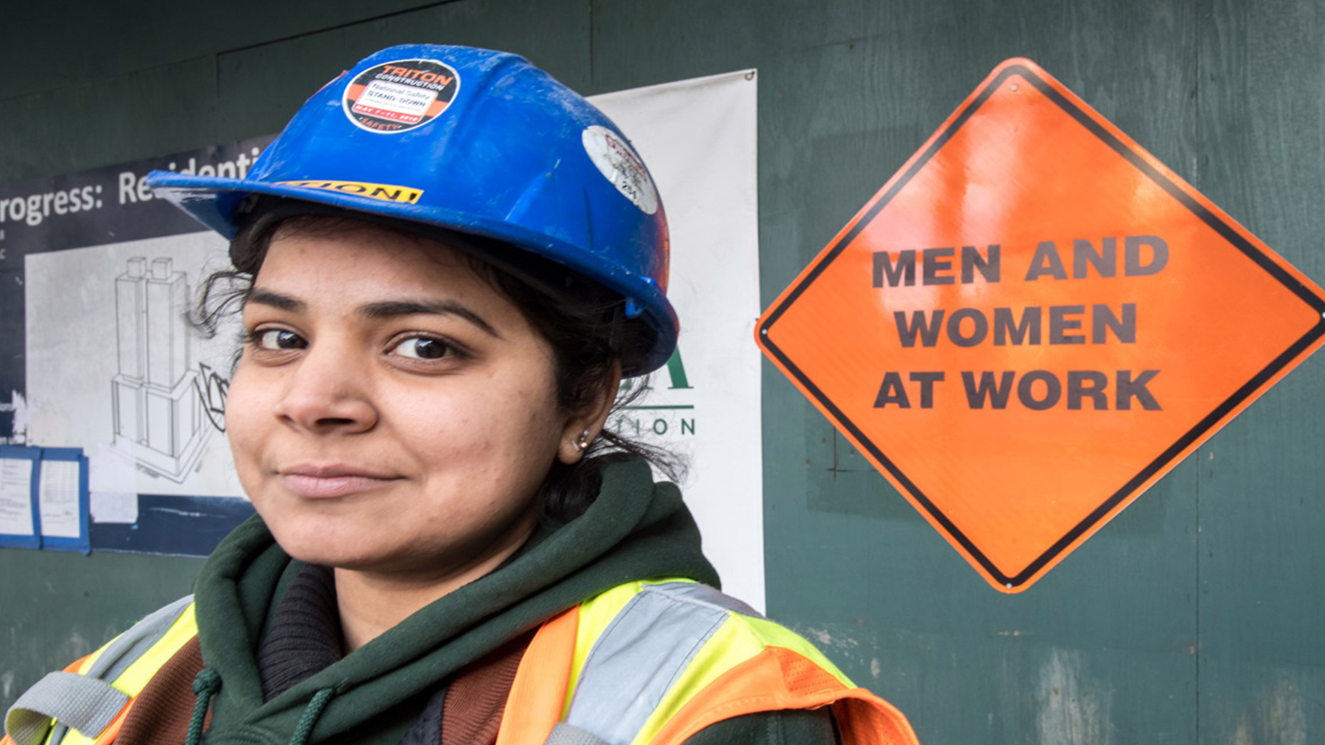 women in a construction working space