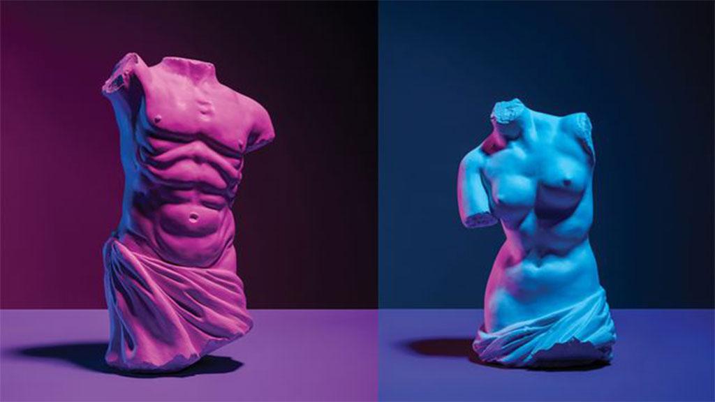 Male and female statue