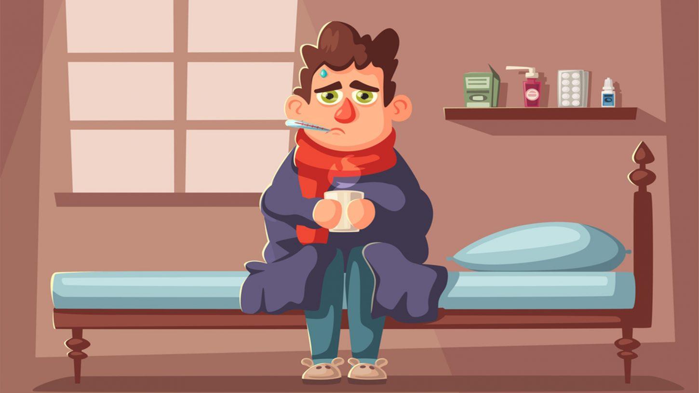 cartoon character having hot drink